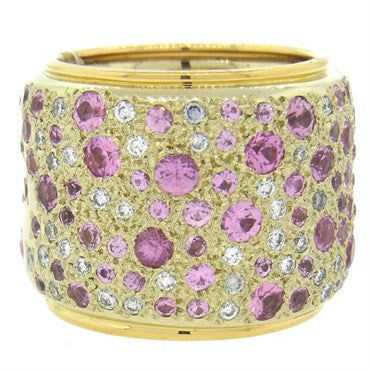 thumbnail image of Pomellato Massive Sabbia Pink Sapphire Diamond 18k Gold Wide Band Ring