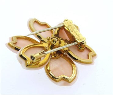 thumbnail image of Van Cleef & Arpels Rose de Noel Coral Diamond Gold Flower Brooch Pin