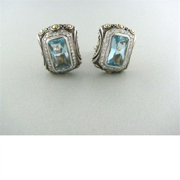 thumbnail image of John Hardy Sterling 18k Gold Topaz Diamond Earrings