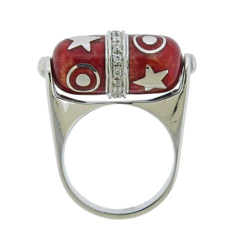 image of La Nouvelle Bague Gold Diamond Enamel Barrel Ring