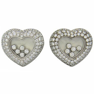 image of New Chopard Floating 3.71ctw Diamond Heart 18k Gold Earrings