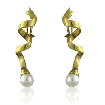 image of Tiffany & Co 18K Gold Spiral Ribbon Pearl Drop Earrings