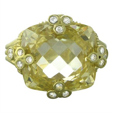 image of Judith Ripka 18K Yellow Gold Canary Crystal Diamond Ring
