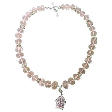 image of Cathy Waterman Platinum Kunzite Bead Diamond Pendant Necklace