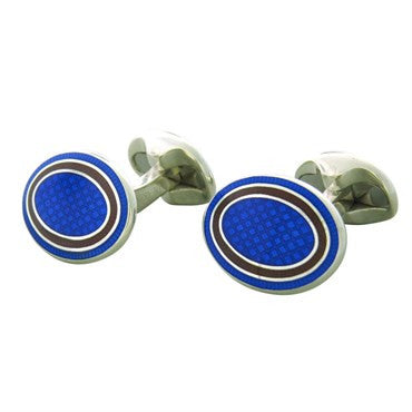 image of Deakin & Francis Blue Maroon Oval Sterling Silver Cufflinks