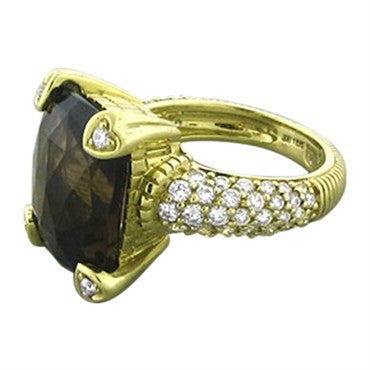thumbnail image of Judith Ripka 18K Yellow Gold Smokey Topaz Diamond Ring