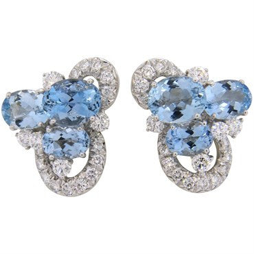 thumbnail image of Chantecler Aquamarine Diamond Gold Earrings