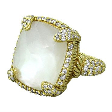 thumbnail image of Judith Ripka 18k Gold 1.10ctw Diamond Mother of Pearl Glacier Ring