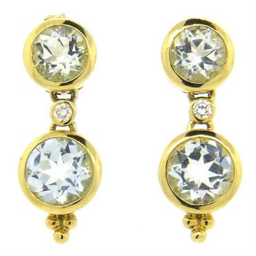 image of Temple St. Clair Aquamarine Diamond 18k Gold Drop Earrings