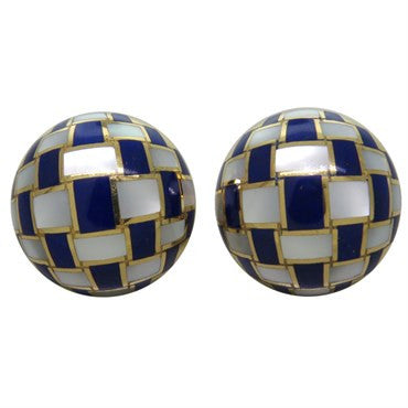 image of Tiffany & Co 18k Gold Mother Of Pearl Lapis Checkerboard Earrings