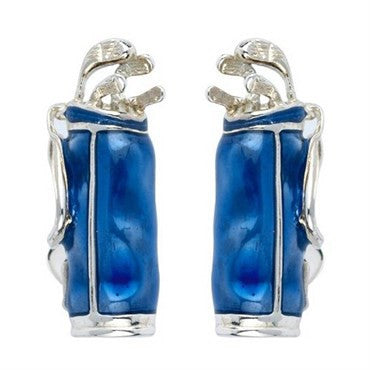 image of Deakin & Francis Blue Enamel Sterling Silver Golf Bag Cufflinks