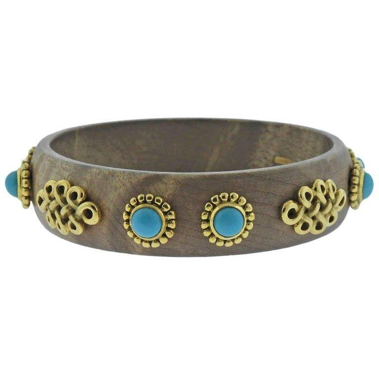 thumbnail image of Adria de Haume Wood Turquoise Gold Bangle Bracelet
