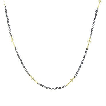 image of Emily Armenta 18k Gold Oxidized Silver Sword Motif Necklace