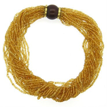 thumbnail image of Trianon Wood Citrine Gold Multi Strand Necklace