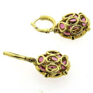 thumbnail image of Temple St. Clair Nirvana Pink Tourmaline Diamond 18k Gold Earrings
