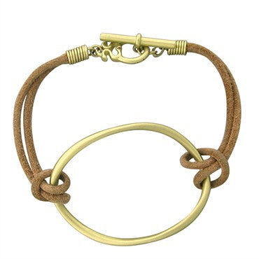 image of Slane & Slane 18K Yellow Gold Leather Twin Link Bracelet
