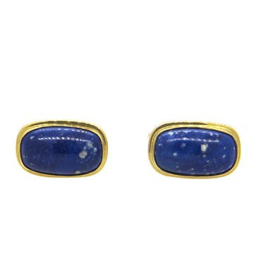 thumbnail image of English Mid Century Sodalite 9k Gold Cufflinks
