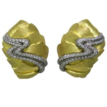 image of Large Henry Dunay Diamond Gold Platinum Earrings