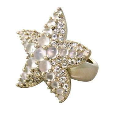 thumbnail image of Pomellato Sirene 18k White Gold Moonstone White Sapphire Starfish Ring