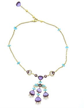 image of Bulgari Mediterranean Eden Turquoise Amethyst Diamond Gold Necklace
