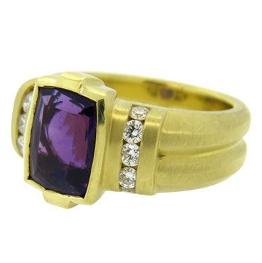 image of Fine Elizabeth Rand 18K Gold Amethyst Diamond Cocktail Ring