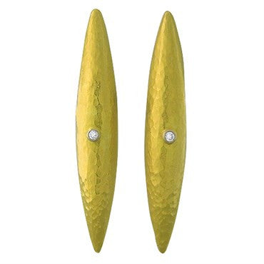 thumbnail image of Gurhan Funky 24k Gold Diamond Hammered Finish Earrings