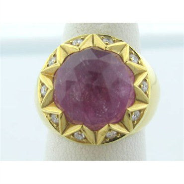 image of Estate Stephen Webster 18k Gold Pink Stone Diamond Ring