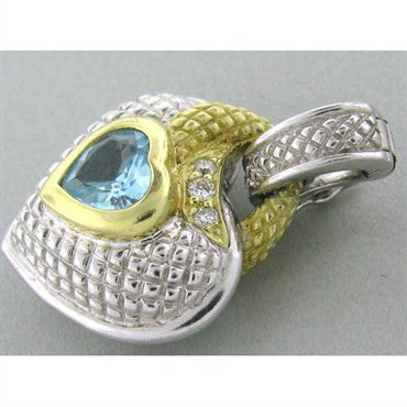 thumbnail image of Judith Ripka Sterling 18k Gold Topaz Diamond Pendant