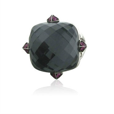 image of Stephen Webster Jewelvine 18K White Gold Pink Sapphire Quartz Ring