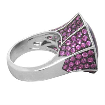 thumbnail image of Modern Amethyst Sapphire Diamond Gold Ring