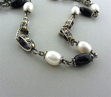 thumbnail image of Estate John Hardy Dots Sterling Silver 18K Gold Pearl Onyx Necklace