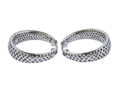 image of Roberto Coin Scalare Gold Diamond Hoop Earrings