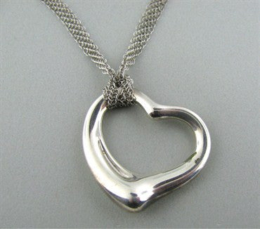 thumbnail image of Tiffany & Co Elsa Peretti Open Heart Sterling Silver Mesh Necklace