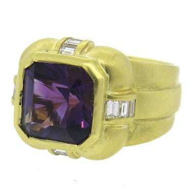 image of Elizabeth Rand Amethyst Diamond Gold Ring