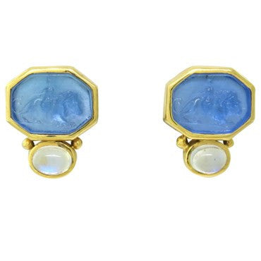 image of Elizabeth Locke 19k Gold Moonstone Intaglio Venetian Glass Earrings
