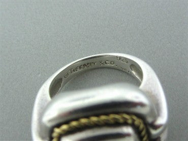 thumbnail image of Estate Tiffany & Co Sterling Silver 18K Gold Lapis Ring