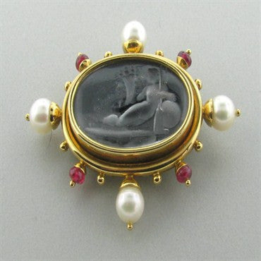 thumbnail image of Elizabeth Locke 18k Gold Intaglio Ruby Pearl Brooch Pin
