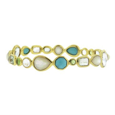 image of Ippolita 18k Gold Rock Candy Multi Color Gemstone Bangle Bracelet
