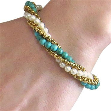 thumbnail image of 1960s Pearl Turquoise 18k Gold Bracelet