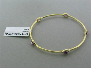 image of New Ippolita 18K Gold Rock Candy Dark Amethyst Bangle Bracelet