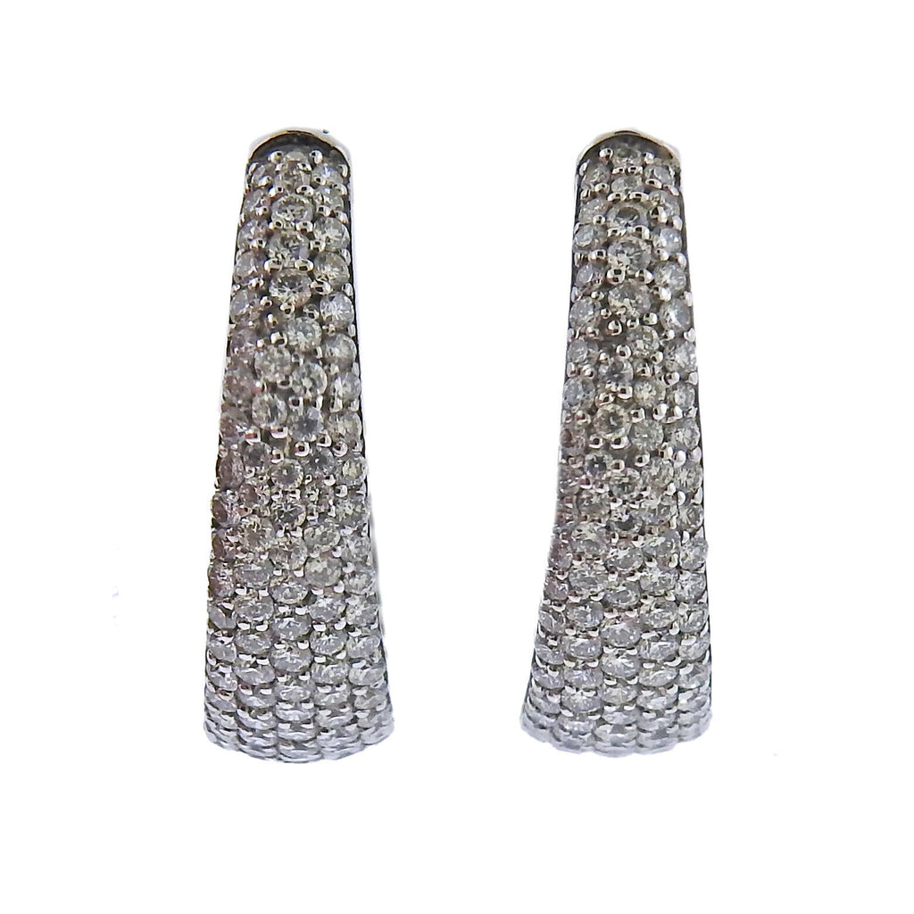 thumbnail image of Roberto Coin Scalare Gold Diamond Hoop Earrings