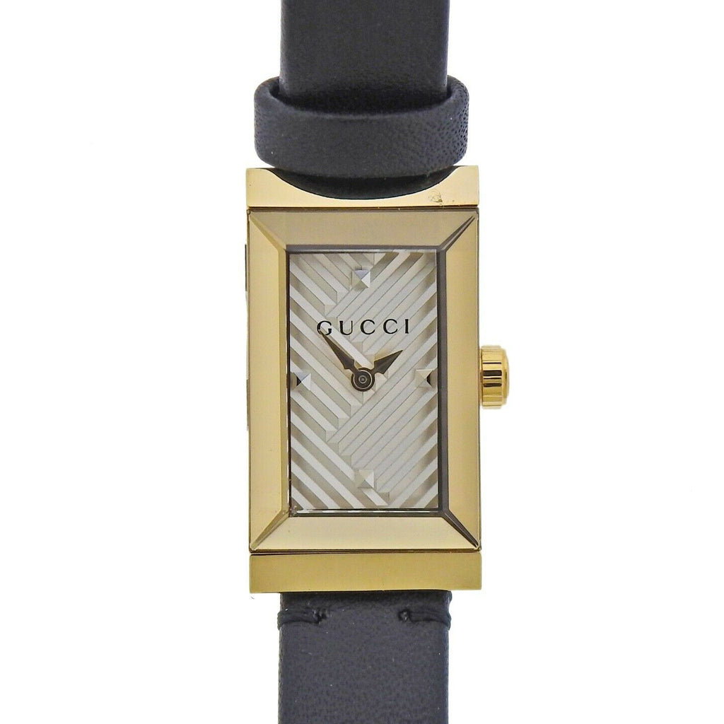 thumbnail image of Gucci G-Frame Chevron Dial Stainless Steel Ladies Watch YA147506