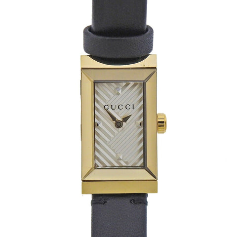image of Gucci G-Frame Chevron Dial Stainless Steel Ladies Watch YA147506