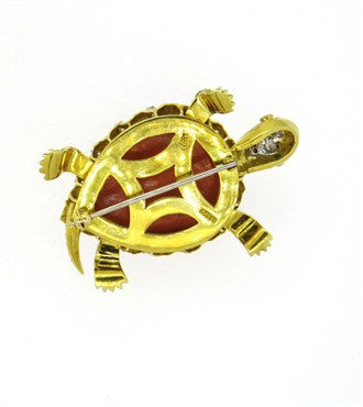 image of Exquisite Carved Coral Emerald Diamond 14k Gold Turtle Brooch Pin