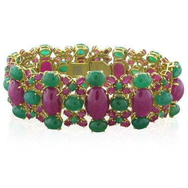 image of Stunning Tony Duquette 18k Gold Ruby Emerald Bracelet
