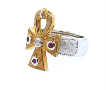 thumbnail image of Cazzaniga Ruby Diamond Gold Ring