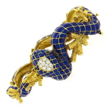 image of 1960s Enamel Diamond 18k Gold Snake Bracelet