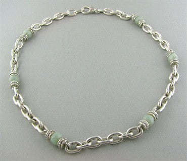Judith Ripka Sterling Silver Light Green Stone Chain Necklace