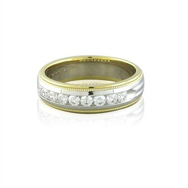 image of Hearts On Fire Ladies Duets Two Tone Milgrain Diamond Band Ring