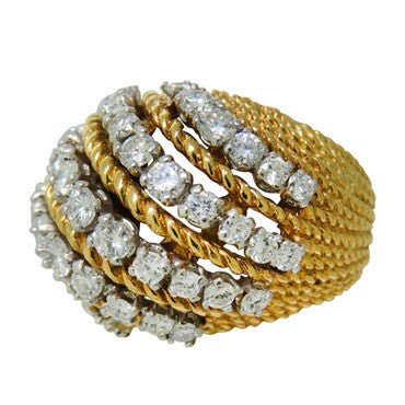 image of 1950s Diamond 18K Gold Platinum Dome Ring